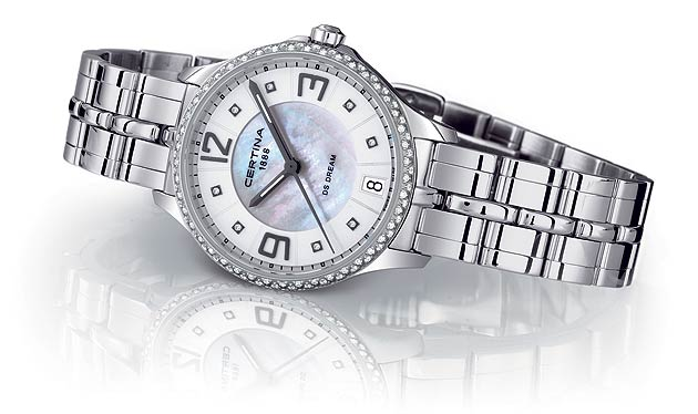 With the DS Dream, Certina designers have created a statement of great feminine harmony and character, in an exclusive product line where every model wears diamonds, on either the dial, the bezel or both. In a watch suited as much to everyday use as to classy evening outings, Certina brings together the great elegance of Top Wesselton diamonds and contemporary design elements, inside a fully polished 316L stainless steel case with a matching polished steel bracelet.