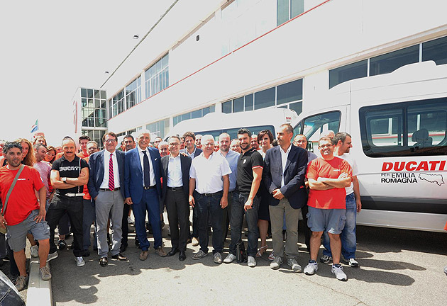 Just a few months after the major earthquake that hit the Italian region of Emilia Romagna, a simple yet heartfelt ceremony at the Ducati factory in Borgo Panigale, Bologna was held on Friday, 3 August to mark the donation of three Volkswagen Crafter Kombi vans.