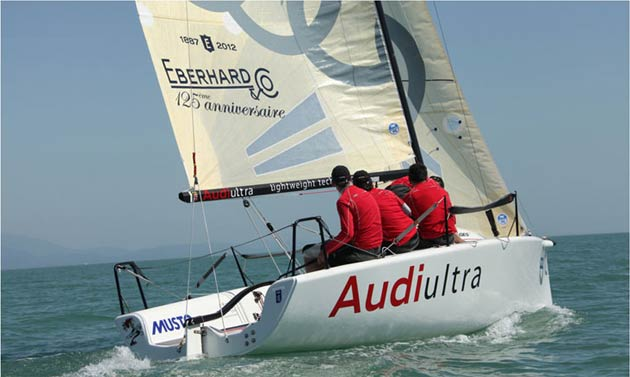 The Audi Eberhard Melges 24 sailing team get third place on the world championship podium. Image copyright of ph@robertomarci.com