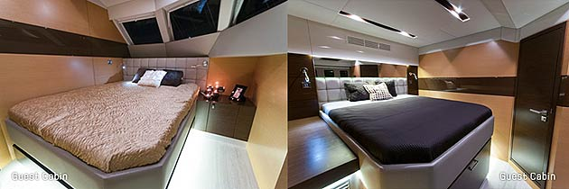 The interior design is modern and minimalist, based on wenge and oak contrast, finished with gray and white upholstery and brushed stainless steel details. Sunreef Yachts has now two more units of the 60 Sunreef Power under construction, the last contract has been signed just a few days ago at the Sunreef shipyard after the presentation of EWHALA in Gdansk, Poland.