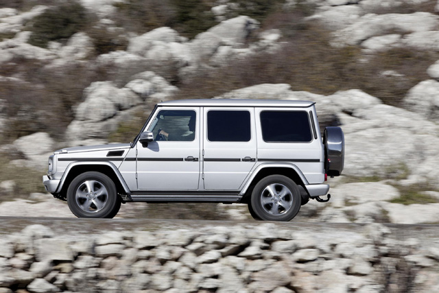 """The new Mercedes Benz G-Class has increased levels of standard equipment including new LED daytime running lights and a reworked interior that, for the first time, is fitted with COMAND Online. Also fitted as standard is Parktronic, an audio and visual parking aid and new leather upholstery in conjunction with heated front and rear seats. A new design of 18"""" five-spoke alloy wheels, electric folding and heated mirrors, instrument cluster with colour display and a mighty Harman Kardon® Logic 7® surround sound audio system complete the changes."""