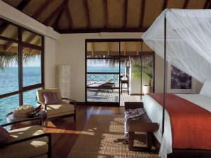 Suffice to say, our room was equipped with familiar signature Four Seasons homely comforts with touches of paradise: a see-through glass floor to watch reef sharks, turtles and other sea-life leisurely swim by, deluxe furnishings including a four-poster bed and a blissful free-standing tub in the bathroom, where you can arrange to experience private spa treatments in-villa. The ultimate extravagance was our very own private outdoor decking area with sun-loungers and pontoon to take a dip in the open sea.