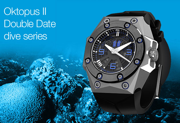 Linde Werdelin, acknowledged for creating meticulously crafted timepieces with attachable digital instruments for diving and free skiing, proudly announces the arrival of the Oktopus II - Double Date boasting enhanced design features from its concept introduction at BaselWorld 2012 in March.