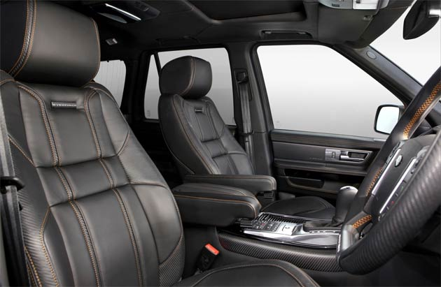 The high quality full nappa leather interior sees contrast copper orange stitching across the cabin's predominant features including the seats (redesigned by Overfinch), headlining, boot door, door cards and pillars, as well as the carpet mats and dashboard.