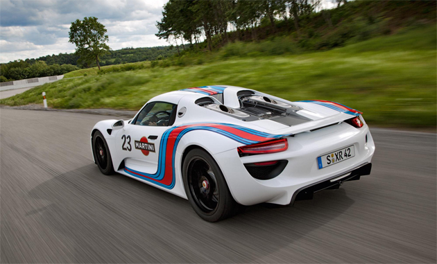 the porsche 918 spyder prototype steps out wearing the sporting livery of martini racing. Black Bedroom Furniture Sets. Home Design Ideas