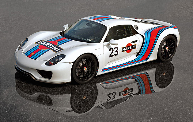 Driving trials of the Porsche 918 Spyder are continuing at high speed, and in the distinctive, sporting livery of Martini®Racing; made famous in the 1970s as the colour scheme of many successful Porsche race cars.