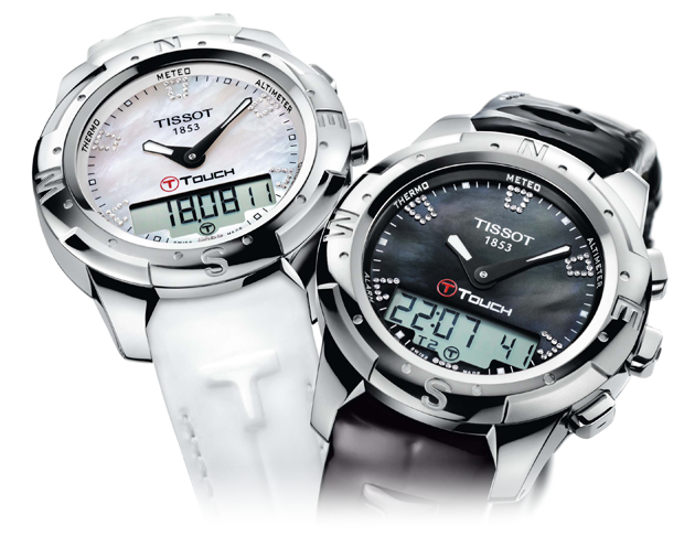 The Tissot T-Touch II Lady watch in mother of pearl or Wesselton Diamonds.