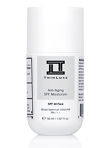 The TwinLuxe Anti-Aging SPF Moisturizer is a revolutionary comprehensive all-in-one face treatment for all skin types - it helps reduce visible signs of fine lines and wrinkles through the use of advanced new technology stem cells, provides SPF 40 and PA+++ broad spectrum sunscreen protection from harmful UVA/UVB sun rays, and works as an ultra-light hydrating non-greasy facial moisturizer.
