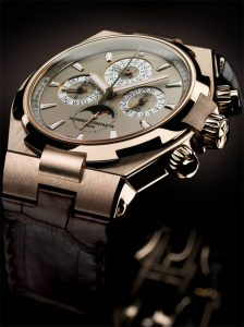Overseas Chronograph Perpetual Calendar - The year 2012 marks a new breakthrough in the consolidation of the Overseas collection, Vacheron Constantin's sporting and technical line. The Overseas Chronograph Perpetual Calendar model with its 18-carat pink gold case unequivocally establishes itself as the major reference in the collection, featuring a masterful blend of chic elegance and technical Haute Horlogerie.