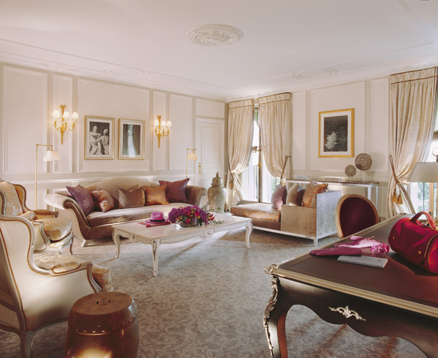 Working closely with Sandrine Chollet, Jouffre has used re-worked period furniture using a palette of light colours interjected with bright tones and a contemporary, couture approach to create a welcoming and relaxing environment for visitors to Le Meurice, where each room is unique.
