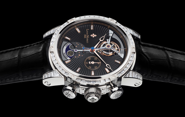 To celebrate the exploits of Curiosity, Louis Moinet has decided to present a unique set of four unique Astralis timepieces, with the dark brown, silver, dark blue and diamond-speckled black dials. The presentation case for each watch is a work of art in itself: A planetoidal sphere 21 cm in diameter created by sculptor Jean-Yves Kervevan, representing Mars, the Moon, Mercury and the Sun.
