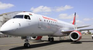 The first Embraer E190 aircraft to be fully purchased by Kenya Airways touched down at the Jomo Kenyatta International Airport in Nairobi on 30 August 2012. The aircraft is expected to boost the airline's expanding fleet and service new routes and frequencies on its growing African network.