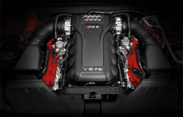 As in the Coupe, the high-revving, naturally-aspirated 4.2-litre V8 that is hand built for the Audi RS 5 delivers 450PS at 8,250 rpm and peak torque of 430 Nm at between 4,000 and 6,000 rpm. It powers the Cabriolet from rest to 62mph in 4.9 seconds, and where possible can take it to an electronically-limited 155mph top speed, which at extra cost can be elevated to 174mph if desired.