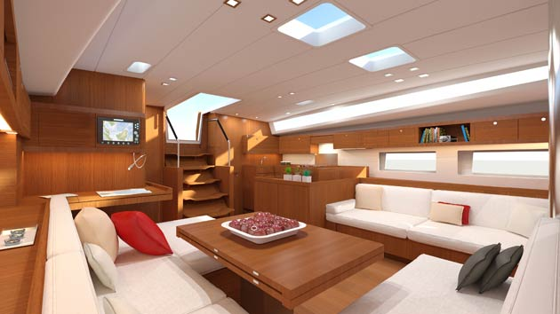 Inside, is an extremely comfortable 45° companionway, framed by handrails, making access to the saloon safe under sail. Below, we find a fully fitted L-shaped galley portside, opening onto the saloon space, left clear for interchange and discussions when cooking in the galley. Facing is the saloon, which is cool and bright, with: 4 hull portholes, 2 new deck windows surrounding the roof, and two hatches with blackout blinds, providing light and ventilation