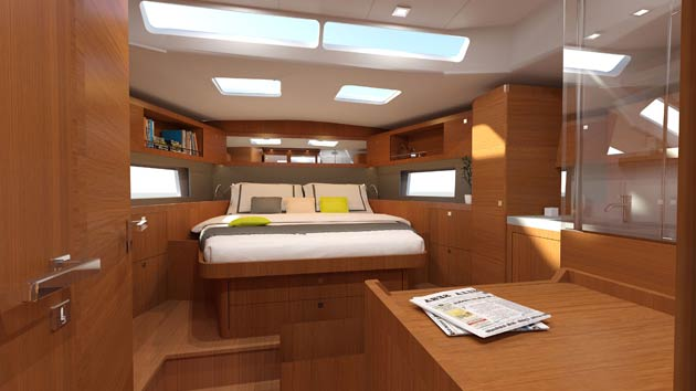 To the fore, materials and trims pleasantly enhance the owner cabin. The décor has been chosen carefully: anthracite grey panelling at the head of the bed adds to the choice of enhancing materials. The light is perfect thanks to the panoramic window which offers a stunning view to the bow. In the very bright and open shower room, the interplay of materials with transparency and the Kerok washbasin emphasizes the elegant and contemporary aesthetic qualities that we find throughout the boat.