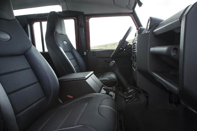Premium part leather seats which contour your body are available to the driver and front seat passenger, sporting the Land Rover logo on the backrest. The style of the seat naturally enhances driving support and comfort over the toughest of terrain. An integrated, centre stitch line on the headrest is also visible and adopted to the current standard seat in the Defender.