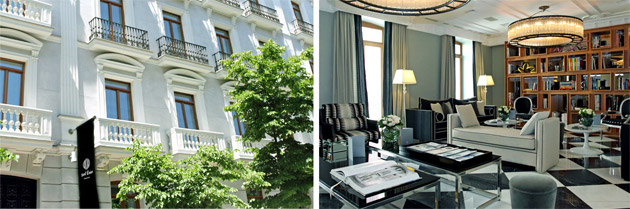 Grand Charm in Hotel Único Madrid - Hidden within a handsome white façade, Hotel Único Madrid, located in the heart of the capital, is perfectly situated to experience art, culture and go shopping. The building's heritage and original glamour can be seen in the marble-mosaic floor in the lobby, the high ceilings and large windows. A modern sculpture by artist Jacinto Moros is the centrepiece of the spiral staircase, cascading down the middle in streams of crimson.