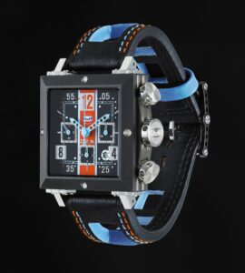 The BRM SD-41-Gulf automatic chronograph - A square model in Gulf Colours.