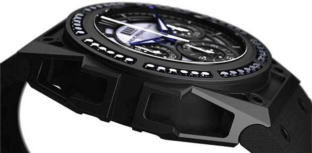 The Linde Werdelin Spidospeed Black Diamond Watch is a unique composition of black diamonds, mother of pearl, dlc with blued steel hands limited to only 50 pieces.