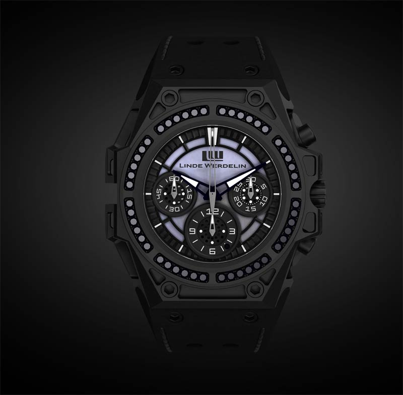 Linde Werdelin's iconic SpidoSpeed chronograph, which expresses the essence of precision, strength and cutting edge look, is unveiling an exclusive series bearing 48 +1in the dial brilliant-cut black diamonds of 1.57 carats mounted on its skeletonised dlc - diamond-like-carbon - treated case featuring a rare mother of pearl dial.