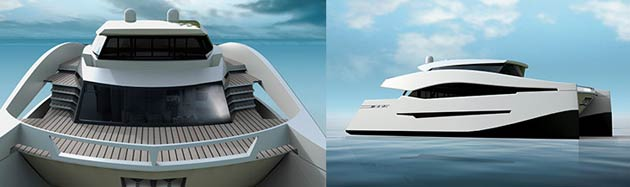 The main idea behind the concept is to stress the superb space offered by catamarans thanks to their large beam, and to arrange this space in a similar way to motoryachts. This means a single large main deck spanning the entire beam, housing dining and lounging areas in both the exterior aft deck and inside the saloon to create a seamless, open space. The generously-sized master cabin is located in the front on the same level. The flybridge will include the helm station and two lounge areas (inside and outside), while the intimate terrace at the front of the main deck will comprise a jet ski with its crane and sun pads.