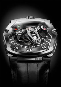 """More than any other URWERK piece, the UR-210 catches the attention. The eye is inevitably drawn to the winding efficiency indicator… it's almost a magnetic attraction. The UR-210 is not really a watch but rather a living mechanism grafted onto your wrist. We have nicknamed the UR-210 the Maltese Falcon because we see it as the stuff that dreams are made of ."