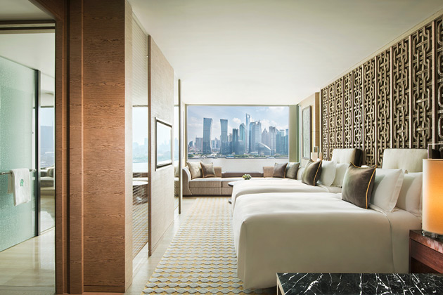 Banyan Tree Shanghai On The Bund is the first hotel in the city to provide river views from each of the resort's 130 rooms. Expansive accommodation boasts generous interiors and oversized windows with views that open out onto the broad Bund thoroughfare and Huangpu River beyond. A variety of room types are available, including the signature Oasis Room with Romantic Pool which features a private dipping pool. In addition, the Banyan Suite will include a generously-sized swimming pool, a unique offering among Shanghai hotels.