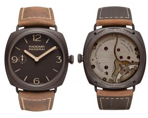 The Radiomir Composite® 3 Days – 47mm (PAM00504) watch boasts a cushion case in brown Panerai Composite, surrounding a dial of the same colour. Featuring the classic alternation of linear markers and large figures at the cardinal points, this dial has the construction devised by Officine Panerai in the late 1930s to enhance readability even under very poor lighting conditions: two superimposed discs contain the luminous material, the light from which shines through the apertures in the upper one corresponding to the markers.
