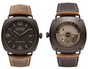 The Radiomir Composite® Black Seal 3 Days Automatic – 45mm (PAM00505) includes a Radiomir case 45 mm in diameter made of Panerai Composite and the classic dial also has the date window at three o'clock. The name Black Seal, is a proprietary name of Officine Panerai which evokes fascinating memories of the history of the brand: Black Seal was one of the names used to describe the slow-speed torpedoes, the midget submarines on which the commandos of the Italian Navy carried out their heroic underwater enterprises during the Second World War, with Panerai watches and instruments on their wrists.