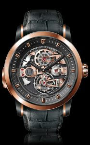 Christophe Claret is delighted to present the Soprano featuring a musically accurate 4-note minute repeater striking Westminster Quarters on patented cathedral gongs, a 60-second tourbillon and Charles X style bridges in addition to a titanium caseband to optimize sound transmission.