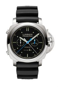 The Panerai Lounge at the Régates Royales provided the venue for the unveiling of the watch to be presented to the owner of the yacht that wins this epic race. Entirely developed and created in the Officine Panerai manufacture in Neuchâtel, the £18,100 Luminor 1950 Rattrapante 8 Days Titanio split-seconds chronograph is an exclusive Special Edition timepiece of which just 500 will be made, and features an engraving of the Panerai Transat Classique 2012 logo on its case-back.