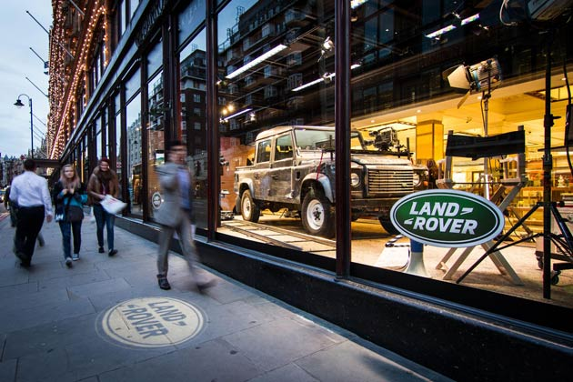 The Land Rover featured in the latest James Bond Skyfall movies is on display at Harrods of London