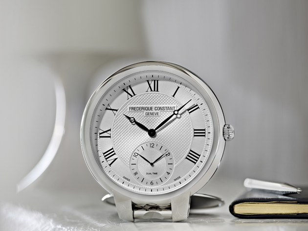 The Frederique Constant table clock, taking the characteristics of a luxury wrist watch and adding glamour to your home.