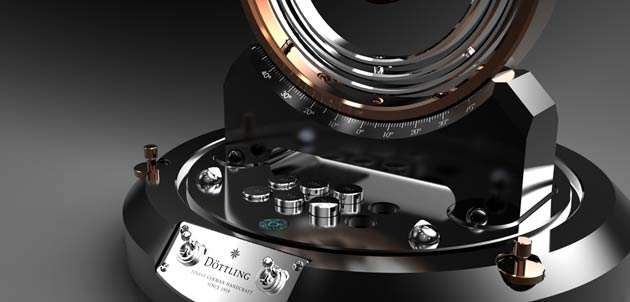 The Döttling Gyrowinder is a unique example of the art of engineering from the Maichingen-based safe manufacturer Döttling: the extremely precise instrument makes it possible for the first time to turn the watch in any direction – including a 360° turn – which comes closest to wearing the watch on the wrist.