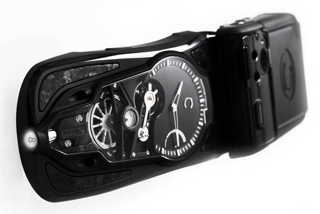 The Celsius X VI II OptiC GMT Furtif with a mysterious fibre optic microguide technology dual display.