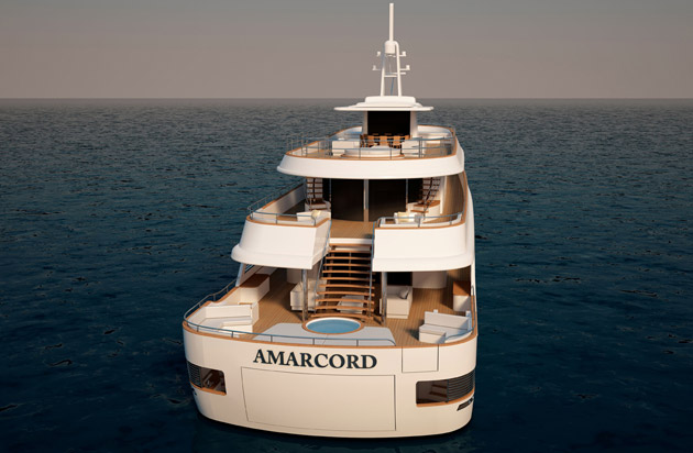 Yacht designer, Marco Casali reinterprets the Benetti ships of the 70s with the Amarcord 56.
