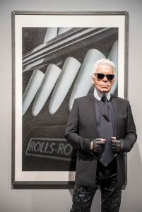 Karl Lagerfeld visited Rolls-Royce Motor Cars today to present his photography exhibition, entitled 'A Different View', in the latest of the luxury manufacturer's Icons of Art series.