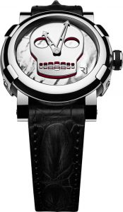 This exceptional encounter between contemporary art and Fine Watchmaking has given rise to ten unique timepieces, all of them featuring a recurrent motif in John M Armleder's work: the skull. Already featured in mural paintings and as a cut-out on a mirror, this skull inspired by Amerindian culture is now featured on RJ-Romain Jerome watch dials in an unprecedented collection.