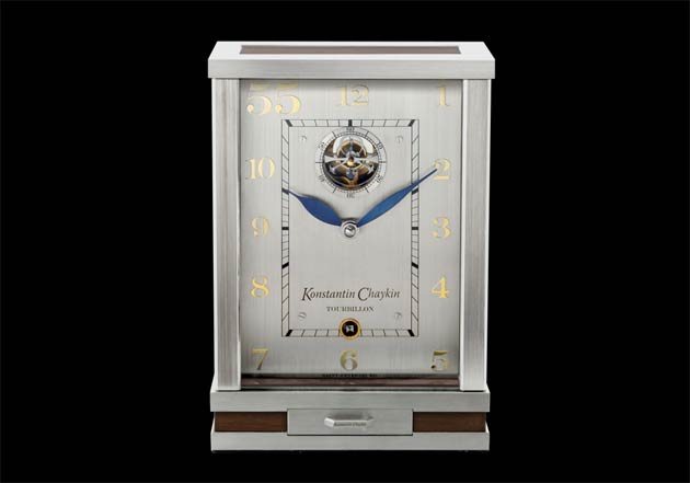 The Konstantin Chaykin Tourbillon 55 Clock with a one-minute tourbillon replacing the seconds hand.