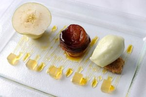 My heart was set on 'An Assiette of Apple'. This translated as an array of apple-based sweets, neatly organised to form a tantalising sequence of carefully-crafted desserts spanning from a tarte tatin at one end of platter to a bramley apple mousse at the other, a combination which worked flawlessly.