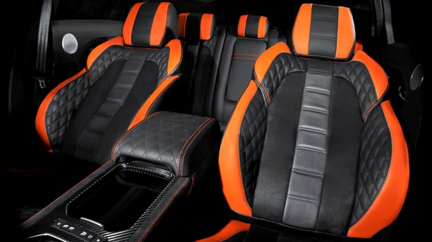 In the cabin, there is the 'bespoke touch', and this particular vehicle comes complete with front and rear seats in black leather with alcantara and Vesuvius orange detail, four door armrests – diamond quilted with orange stitching, a centre dashboard trim in alcantara with contrast stitching, a diamond gear selector, in addition to a rev counter in Vesuvius orange.
