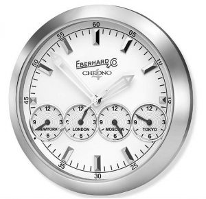 """To ensure that a constant eye is kept on both cooking times and competitive times, special installations have been created for the event, with """"Wall Clock"""", the brand new wall clock which is the latest evolution of Chrono 4. 4 aligned dials and 5 time zones with 5 separate mechanisms, offering an overview of the world's main capitals. It is already present in some of the most famous restaurants, including those of some of the chefs taking part in the event, charming hotels and selected venues."""