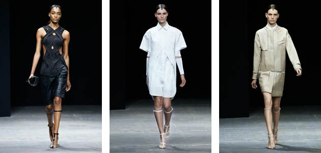 For his Spring 2013 collection, Alexander Wang depicts a linear quality that is clean and minimal with floating lines created by translucent fish wire, embroidery and exaggerated eyelets. The juxtaposition of tension and suspension are captured between structure and fluidity while dissected pieces build on a new silhouette, which embodies lightness and delicacy.