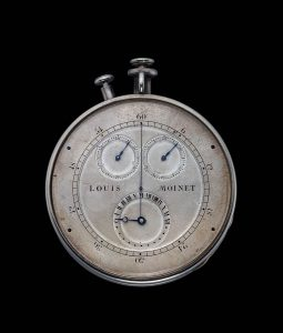 """This timepiece is of an entirely original design and evidently the work of a master watchmaker well ahead of his time. The timepiece measured events to the sixtieth of a second (known in those days as a """"third"""" or tierce in French), indicated by a central hand. The elapsed seconds and minutes are recorded on separate sub dials, and the hours on a 24-hour dial."""