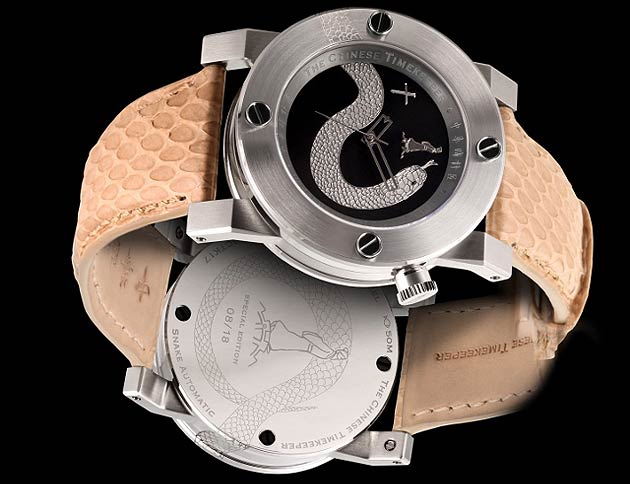 The tail of the snake starts on the back of the case continuing goes along each of the 4 layers of the case structure. Appearing on top of the watch where it is deeply engraved on the watch bezel before diving below extending itself across the black dial, tongue flickering. The effect of the snake provides one of the 18 lucky owners with a unique design statement sure to catch the eye of others.