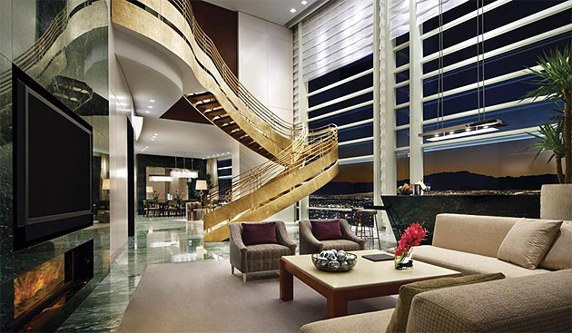 Sky Villa at Aria – One of the newest and most elegant suites in the centre of the strip.
