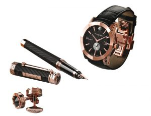 The Nelson Mandela Limited Edition includes customised versions of NeroUno pens, watches and cufflinks, distinguishing from the production NeroUno edition with a motif of triangles in a tribal pattern in rose gold plated trim on the pen cap's band