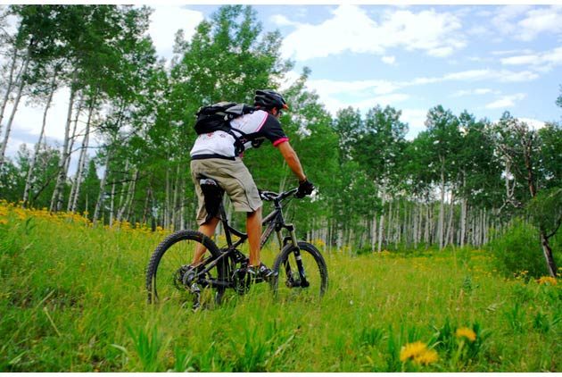 Wanting to take it easy, our group took a 9-mile easy downhill bike ride along a beautiful scenic trail to Woody Creek Tavern.