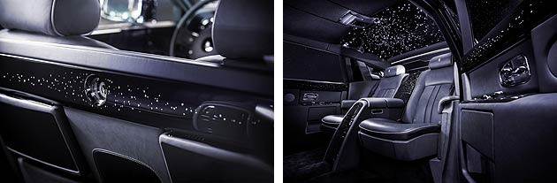 Rolls-Royce have taken the Celestial Phantom to even greater heights by adding 446 diamonds meticulously hand-set into the door-cappings, centre console lid and rear-privacy divider.