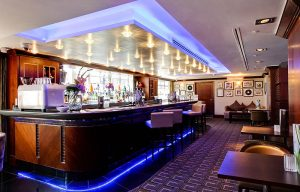 The stylish bar and lounge area has an ambiance reminiscent of the cool days of jazz